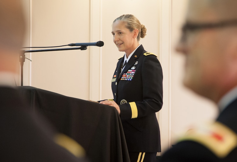 Brig. Gen. Kim Colloton, U.S. Army Corps of Engineers South Pacific Division commander, speaks to an audience of more than 400 USACE employees about the remarkable 28-year Army career of outgoing Sacramento District commander, Col. David Ray, during the district's July 11, 2019, change of command ceremony in downtown Sacramento, Calif.