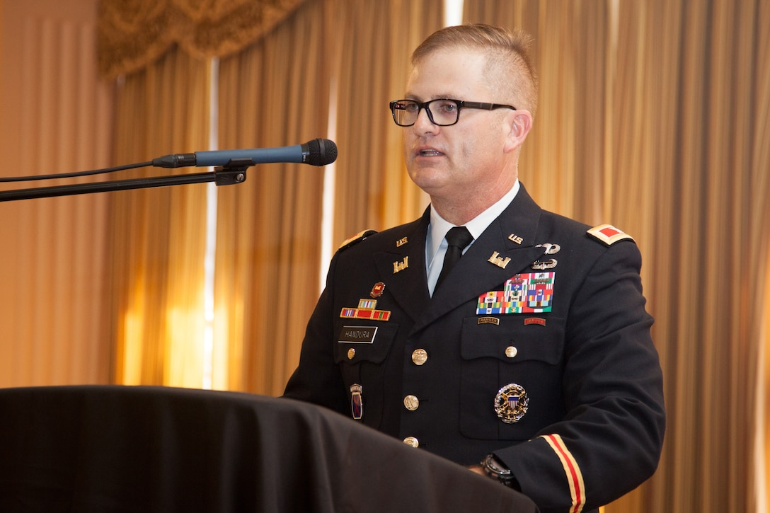 Col. James Handura, U.S. Army Corps of Engineers Sacramento District commander, speaks to more than 400 district employees, Soldiers and guests during a July 11, 2019, change of command ceremony at the Masonic Temple in downtown Sacramento, Calif. 
