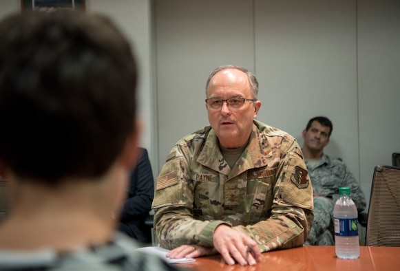 A member of the media, interviews U.S. Air Force Maj. Gen. Lee E. Payne, Defense Health Agency Assistant Director for Combat Support, and Military Health System Electronic Health Record Functional Champion during his visit at Joint Base Elmendorf-Richardson, Alaska, July 9, 2019. Payne discussed upcoming changes to MHS and what that means for patients and providers.