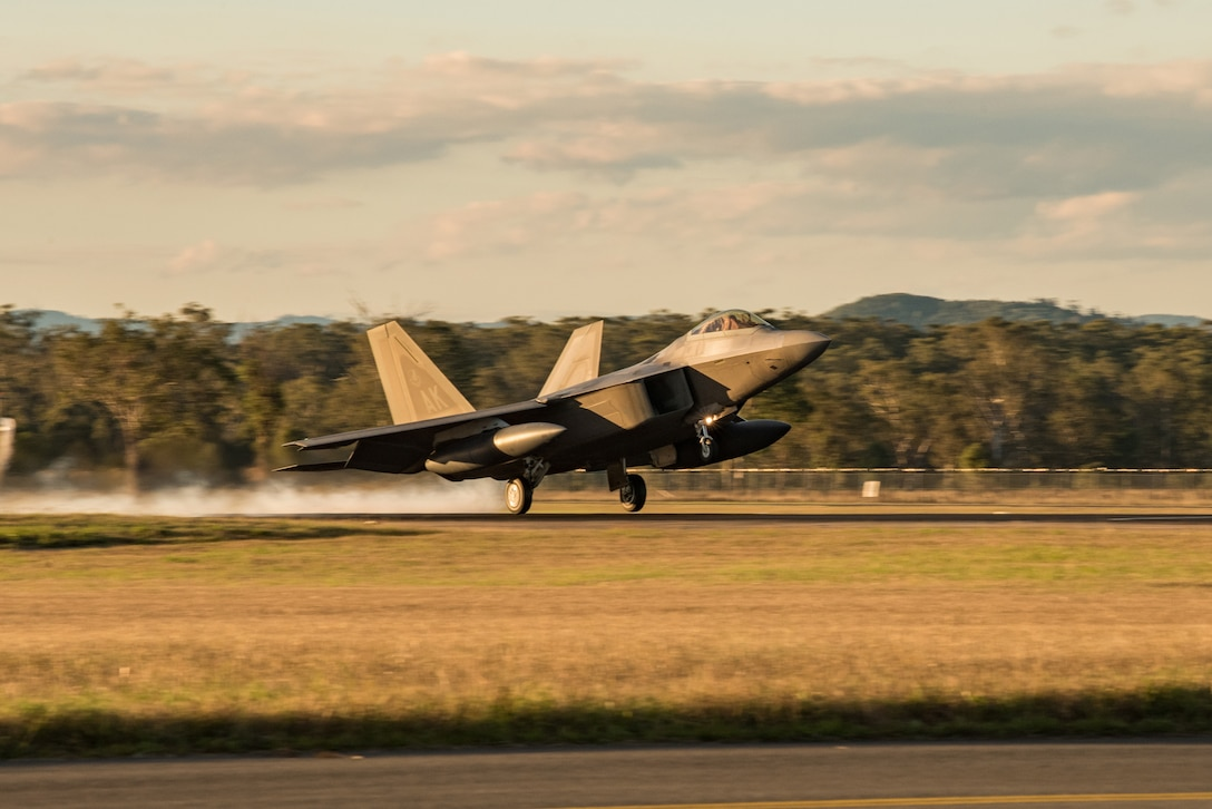 An F-22 Raptor assigned to the 90th Fighter Squadron, Joint Base Elmendorf-Richardson, Alaska, lands at Royal Australian Air Force Base Amberley for Talisman Sabre 19, July 9. The month-long exercise involves the U.S. and Australian forces, and is designed to improve combat training, readiness and interoperability. (U.S. Air Force photo by Staff Sgt. Kyle Johnson)
