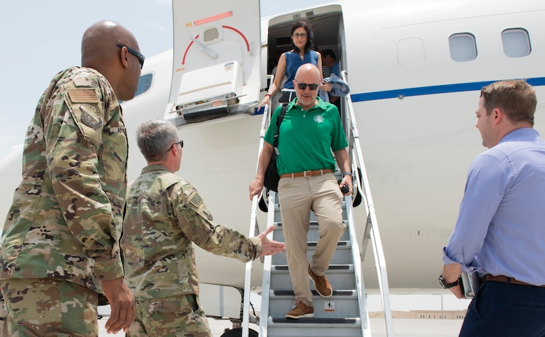 Nine U.S. Representatives took part in a Congressional Delegation visit to Al Udeid Air Base, Qatar on July 4, 2019. The representatives from Florida, Texas, Illinois, California, Puerto Rico and the American Samoan Islands had the opportunity to speak directly with service members and constituents.