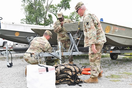 Soldiers with the 769th Brigade Engineer Battalion conduct inspections and test high-water vehicles, flat bottom boats and boating equipment in preparation for the state activation in support of Tropical Storm Barry, July 10, 2019, at the Armed Forces Reserve Center, Baton Rouge, La.