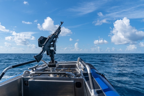 An M240 machine gun mounted on a 6th Security Forces Squadron Secured Around Flotation Equipped Boat after the 6th SFS marine patrol conducted live fire training 12 miles off the coast of St. Petersburg, Fla., July 2, 2019.