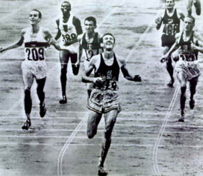 Bob Schul crossing the finish line at the 1964 Olympics in Tokyo, Japan.  Schul is the first and only Team USA runner to win the 5,000 meters at the Olympic games.  Schul is scheduled to be the second guest speaker at the 23rd Air Force Marathon. (Contributed photo)