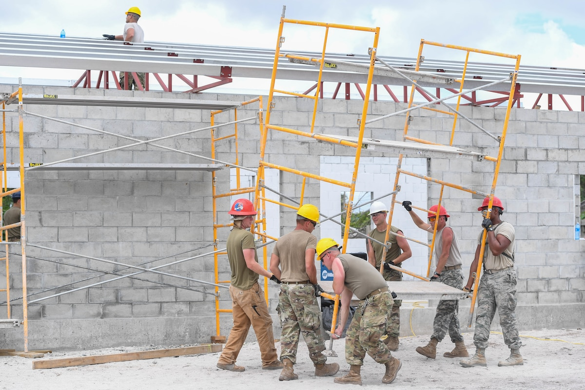 Engineers construct a community center.