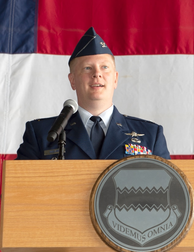 "U.S. Air Force Col. Steven Wieland, incoming 55th Communications Group commander, speaks during the during the 55th CG Change of Command ceremony July 10, 2019, Offutt Air Force Base, Nebraska ""I am proud to be a member to the 55th CG and we are proud to call the Offutt community home,"" Wieland said. ""Warhawks, I look forward to the challenges ahead and the opportunity to serve.""  (U.S. Air Force photo by L. Cunningham)"