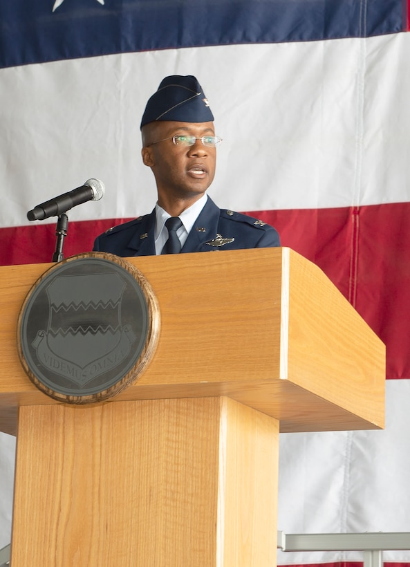 "U.S. Air Force Col. Gavin Marks, 55th Wing commander, speaks during the during the 55th Communications Group Change of Command ceremony July 10, 2019, Offutt Air Force Base, Nebraska.  ""We are excited and elated and so optimistic as we welcome Col. Wieland to the 55th Wing"" said Marks, ""His experiences that make me absolutely confident that he is the right leader, in the right place, at the right time to continue to move the 55th CG down the field.""  (U.S. Air Force photo by L. Cunningham)"
