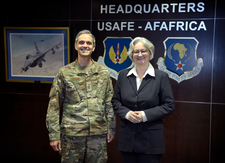 Lt. Gen. Steven Basham, U.S. Air Forces in Europe and Air Forces Africa deputy commander, and Mrs. Barbara Wießalla, Chief of the German Ministry of Defense's Infrastructure, Environment and Services Division stand together for a photo at USAFE - AFAFRICA headquarters, Ramstein Air Base, Germany, July 12, 2019. Wießalla traveled to USAFE - AFAFRICA headquarters for an immersion visit to better understand the functions of the air component. (U.S. Air Force photo by Tech. Sgt. Stephen Ocenosak)