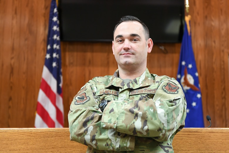 Tech. Sgt. Kyle Staples, a military paralegal with the base's Area Defense Counsel, is recognized as a Team Hill Top 3 Superior Performer July 10, 2019, at Hill Air Force Base, Utah. The award recognizes Airmen from Hill AFB who have demonstrated excellence on and off duty. (U.S. Air Force photo by Cynthia Griggs)