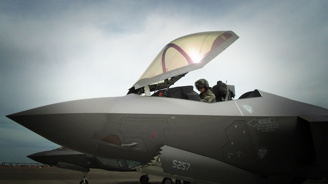 Capt. Kristen Wolfe, a pilot with the 388th Fighter Wing's 34th Fighter Squadron, prepares for a mission prior to takeoff in an F-35A Lightning II at Mountain Home Air Force Base, Idaho. The squadron will participate in Gunfighter Flag 19-2 from July 12-19. (U.S. Air Force photo by Micah Garbarino)