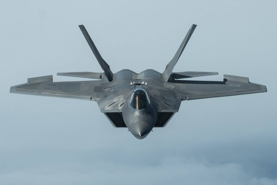 F-22 during an aerial refueling mission