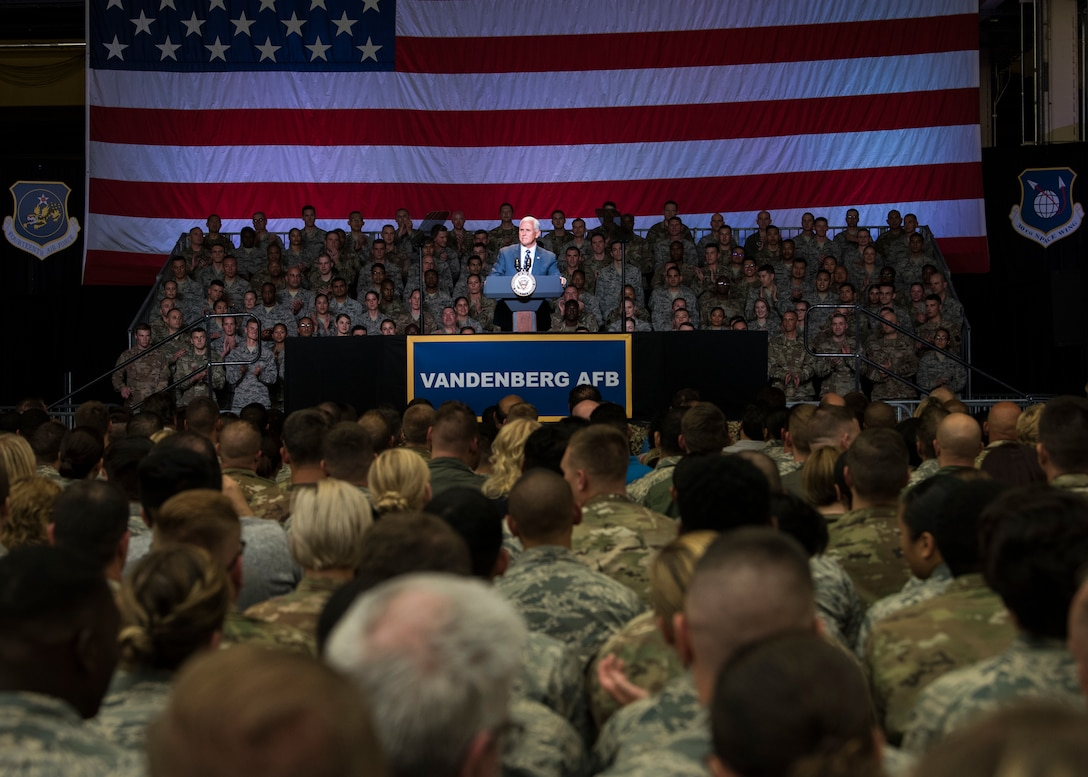 Vice President Michael R. Pence hosts an all-call assembly
