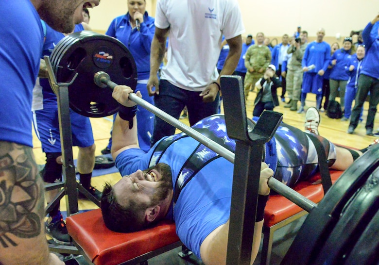 Lawrence Hufford, U.S. Air Force wounded warrior athlete attempts to lift 405 pounds during the power weightlifting competition at the Air Force Warrior Games Trials held at Nellis Air Force Base, Nevada on Feb. 23, 2018