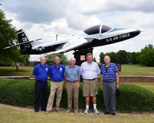 "Five members from Undergraduate Pilot Training class 71-01, nicknamed ""First of the Finest,"" stand in front of a T-37 Tweet, July 3, 2019, on Columbus Air Force Base, Miss. (U.S. Air Force photo by Sharon Ybbara)"