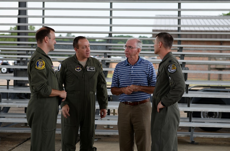 Retired Col. James Donnelly, Undergraduate Pilot Training class 71-01 graduate speaks with 14th Operations Group leadership July 3, 2019, on Columbus Air Force Base, Miss. Five Classmates from the 71-01 class visited Columbus AFB 50 years after their pilot training began and attended the 50th Flying Training Squadron's heritage aircraft unveiling. (U.S. Air Force photo by Airman 1st Class Hannah Bean)