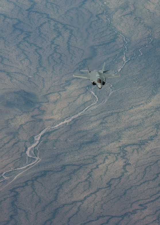 A Republic of Korea Air Force, F-35A Lightning II approaches a KC-135 Stratotanker during a refueling mission March 15, 2019, in Ariz. Luke Air Force Base trains two-thirds of the world's F-35 pilots and graduates 105 F-35 pilots every year. The F-35 is armed with the Electro-Optical Targeting System (EOTS), an internally mounted system that provides extended range detection, precision targeting for ground targets and long range detection of air-to-air threats. (U.S. Air Force photo by Airman 1st Class Leala Marquez)