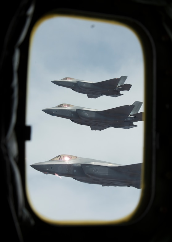 Republic of Korea Air Force, F-35A Lightning IIs fly in formation March 15, 2019, in Ariz. The F-35 contains tactical data links that enable the protected sharing of data among its flight members as well as other surface, airborne and ground-based platforms needed to achieve missions. (U.S. Air Force photo by Airman 1st Class Leala Marquez)