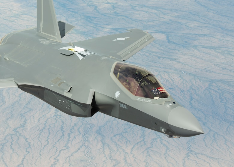 A Republic of Korea Air Force, F-35A Lightning II approaches a KC-135 to refuel March 15, 2019, in Ariz. The F-35's engine produces 43,000 pounds of thrust and contains a 6-stage compressor, 3-stage fan, single stage high-pressure turbine, annular combustor and a 2-stage low-pressure turbine. (U.S. Air Force photo by Airman 1st Class Leala Marquez)