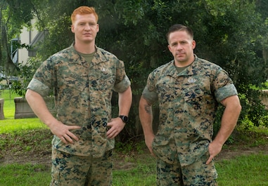 Explosives Ordnance Disposal technicians Gunnery Sgt. Keith Losordo and Sgt. Joshua Alexander pose for a photo aboard Marine Corps Air Station Beaufort, July 11. Losordo and Alexander saved two people from drowning in Port Royal, July 4th.