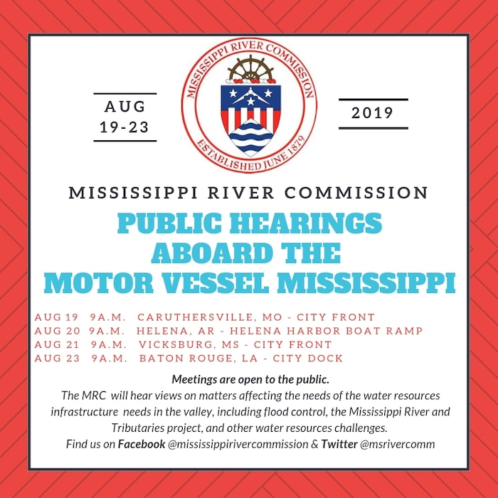 The Mississippi River Commission will conduct its annual low-water inspection trip on the Mississippi River, Aug. 19-23, 2019.
