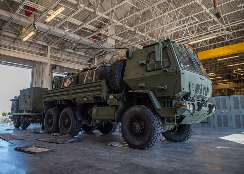 A Meduim Tactical Vehicle undergoes a weight inspection in preparation for a 726th ACS deployment exercise July 11, 2019, at Mountain Home Air Force Base, Idaho. Airmen make sure the MTVs adhere to weight regulations. (U.S. Air Force Photo by Senior Airman Tyrell Hall)