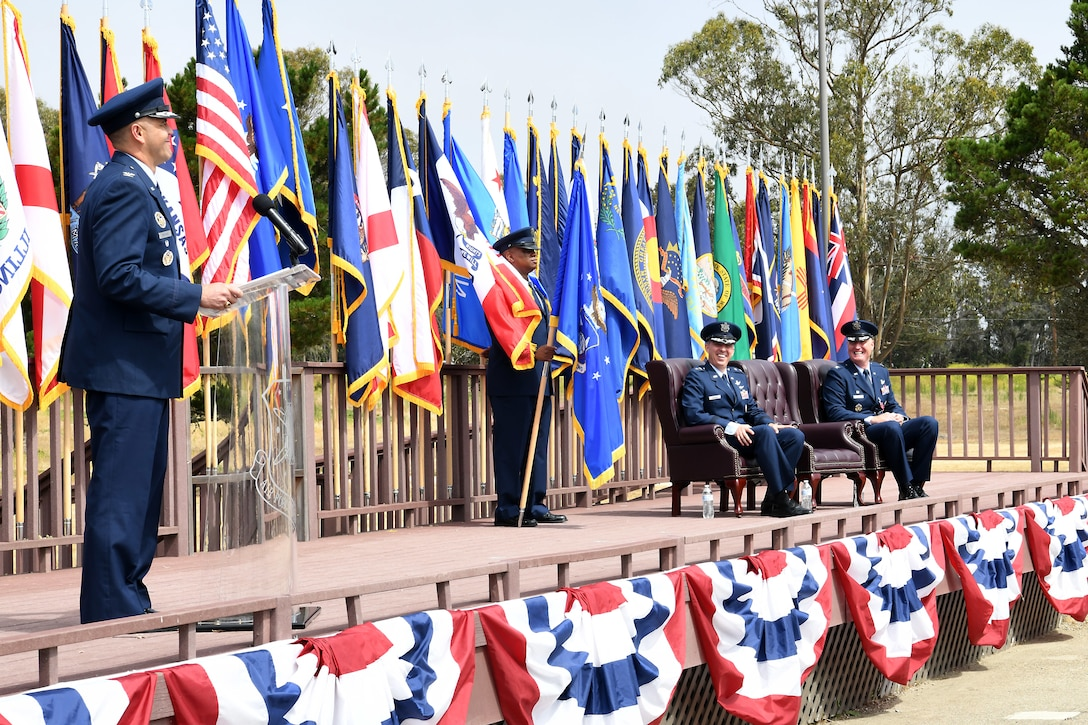 Col. Anthony J. Mastalir, 30th Space Wing commander, speaks during a change of command ceremony July 12, 2019, at Vandenberg Air Force Base, Calif.