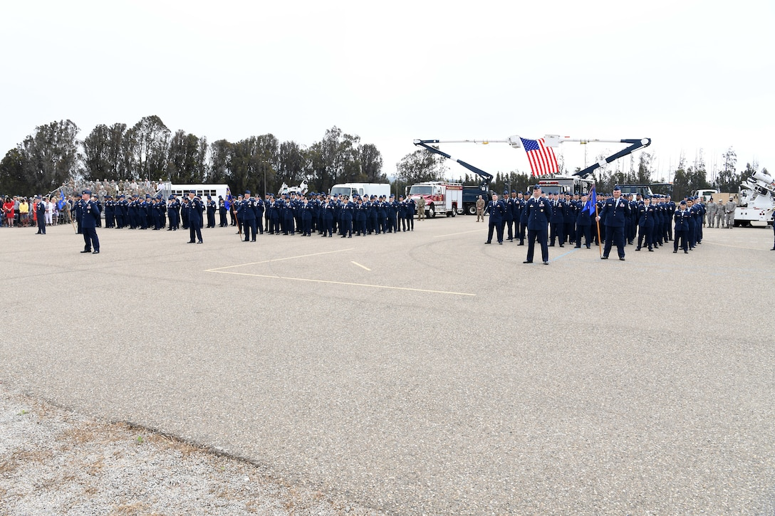 30th Space Wing members participate in a change of command ceremony July 12, 2019, at Vandenberg Air Force Base, Calif.