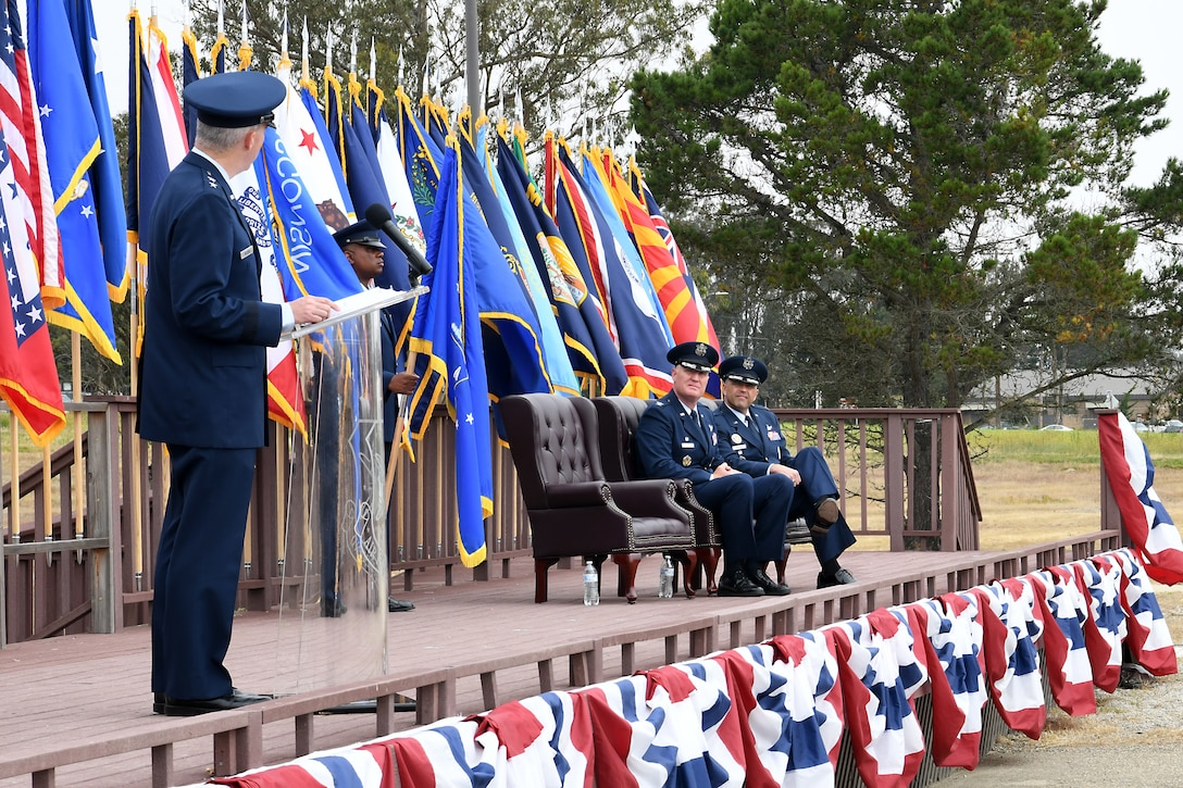 Maj. Gen. Stephen N. Whiting, 14th Air Force commander and Joint Force Space Component Command deputy commander, speaks during the 30th Space Wing change of command ceremony July 12, 2019, at Vandenberg Air Force Base, Calif.