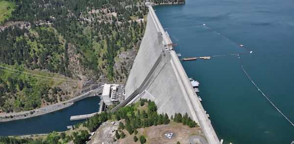 Dworshak Dam on the Clearwater River. The dam, which is 750 feet tall, is the highest straight-axis concrete dam in the Western Hemisphere. The dam is located within the Nez Perce Reservation.