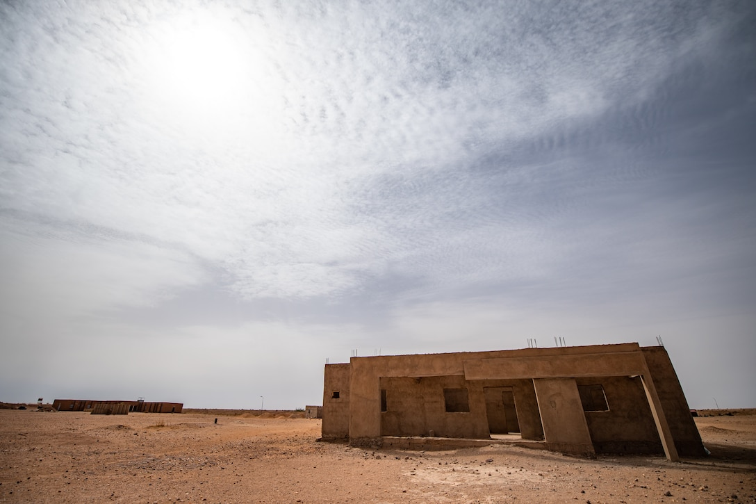 A training building stands in the Niger Armed Forces (French language: Forces Armées Nigeriennes) compound on Nigerien Air Base 201 in Agadez, Niger, July 10, 2019. The 409th Expeditionary Security Forces Squadron air advisors use the building to run training drills with the FAN. (U.S. Air Force photo by Staff Sgt. Devin Boyer)