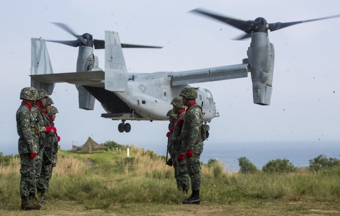 A U.S. Marine Corps MV-22 Osprey assigned to Marine Medium Tiltrotor Squadron 262 attached to the 31st Marine Expeditionary Unit, III Marine Expeditionary Force, takes off from Marine Barracks Gregorio Lim during exercise KAMANDAG 2 at Ternate, Philippines on Oct. 7, 2018.