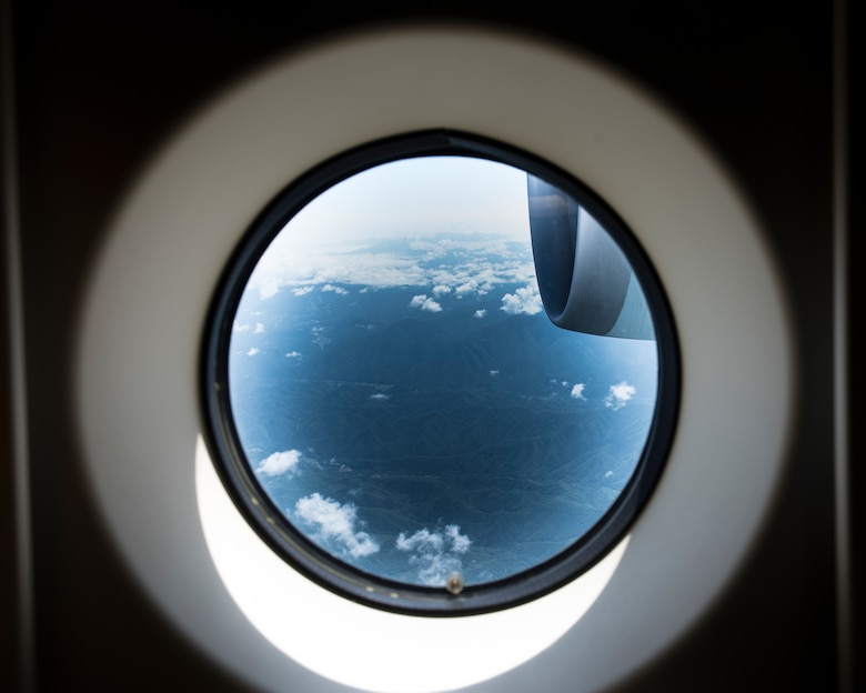 A view from a window of a C-2 assigned to Japan Air Self-Defense Force, 3rd Tactical Airlift Wing, 403rd Squadron during a bilateral airlift exchange over Chubu region, Japan, July 10, 2019.