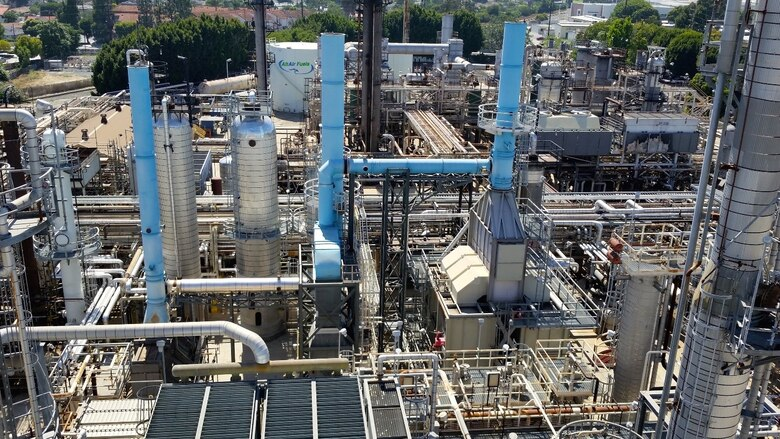 Bird's eye view of AltAir's Bio-Synthetic Paraffinic Kerosene Refinery in Paramount, California. Title III involvement was instrumental in advancing the manufacturing capacity for Bio-Synthetic Paraffinic Kerosene biofuel blend. (Courtesy photo)