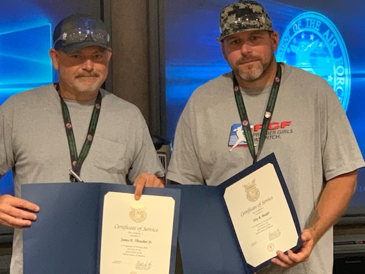 From left, James Thrasher and Trey Baxter were recognized for their 20 years of service in May. They are both civilian welders for Tinker's 548th Propulsion Maintenance Squadron. (Courtesy photo)