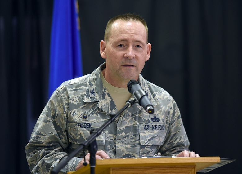 72nd Air Base Wing Commander Col. Paul Filcek gave opening remarks during the LGBT Pride Month Luncheon at the Tinker Chapel June 25. (U.S. Air Force photo/Kelly White)