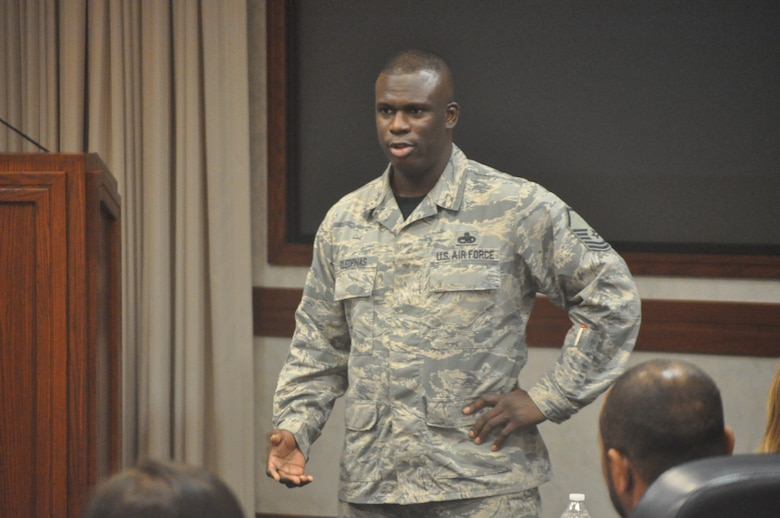Superintendent of Continuous Improvement with the 552nd Maintenance Group, Master Sgt. Shawn Cleophas, shared his personal account of resiliency while working to gain custody of his young son and subsequently becoming a single military father with the Wingman Day audience. Wingman Day is time set aside for squadrons to promote wellness, resiliency and comradery as well as to connect Airmen with the various helping agencies at Tinker.