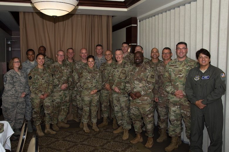 U.S. Army Command Sgt. Maj. John W. Troxell, senior enlisted advisor to the chairman of the Joint Chiefs of Staff, stands for a photo with members of MacDill's senior enlisted leadership, July 11, 2019, at MacDill Air Force Base, Fla.  Troxell met with several units to monitor readiness and morale, while touring MacDill. (U.S. Air Force photo by Airman 1st Class Shannon Bowman)