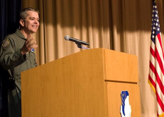 Maj. Gen. John J. DeGoes, 59th Medical Wing commander, addresses the audience after taking command during the June 14, 2018, ceremony at the old Wilford Hall Ambulatory Surgical Center auditorium at Joint Base San Antonio-Lackland. The 59th MDW provides superior graduate medical education and training, state-of-the-art research, and first-class global medical readiness. It also serves as the Air Force functional medical command for Joint Base San Antonio.