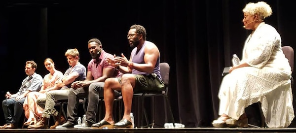 "After the performance of ""True West,"" at the Charline McCombs Empire Theatre, June 29, 2019, actors took questions from the audience. The artists, who signed up for the performance. From left to right, director, Oliver Butler; program director and Erica Newhouse. Actors; Chris Lowell, Michael James Shaw. Chad L. Coleman and L. Scott Cadwell."
