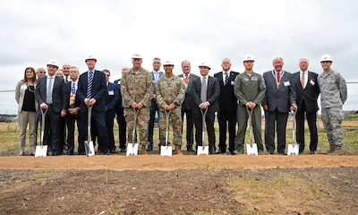 Gen.Jeffrey L. Harrigian, U.S. Air Forces in Europe and Air Forces Africa commander, (center), poses for a photo with 48th Fighter Wing personnel and local civic leaders, partners and contractors during an F-35 groundbreaking ceremony at RAF Lakenheath, England, July 15, 2019. Through the partnership with the Defence Infrastructure Organisation, as well as Kier and VolkerFitzpatrick construction groups, the installation will be ready to welcome the first F-35A Lightning II aircraft in late 2021. (U.S. Air Force photo by Airman 1st Class Shanice Williams-Jones)