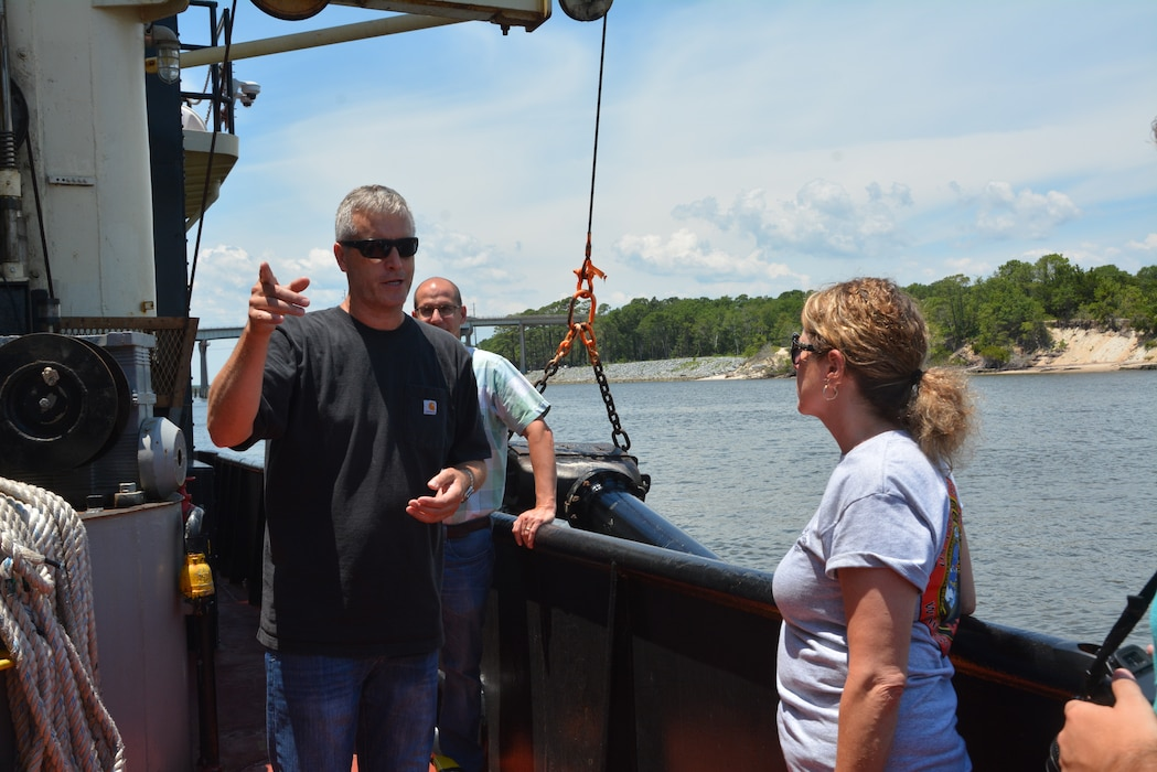 Captain Scott explains some of the safety regulations while aboard the Merritt.