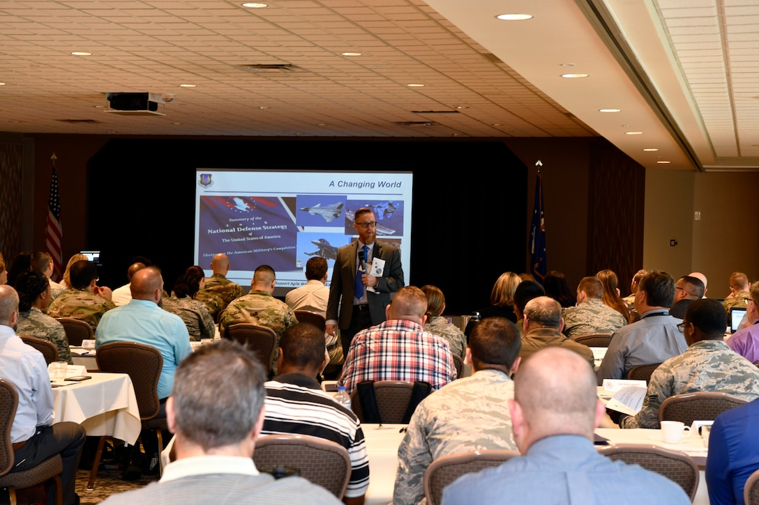 Yancy Mailes, Air Force Materiel Command historian, provides background information on the AFMC We Need initiative during cadre training at Wright-Patterson Air Force Base, July 15. More than 150 AFMC headquarters and center augmentees attended the training to prepare for the implementation of Phase II activities of the AFMC We Need initiative.