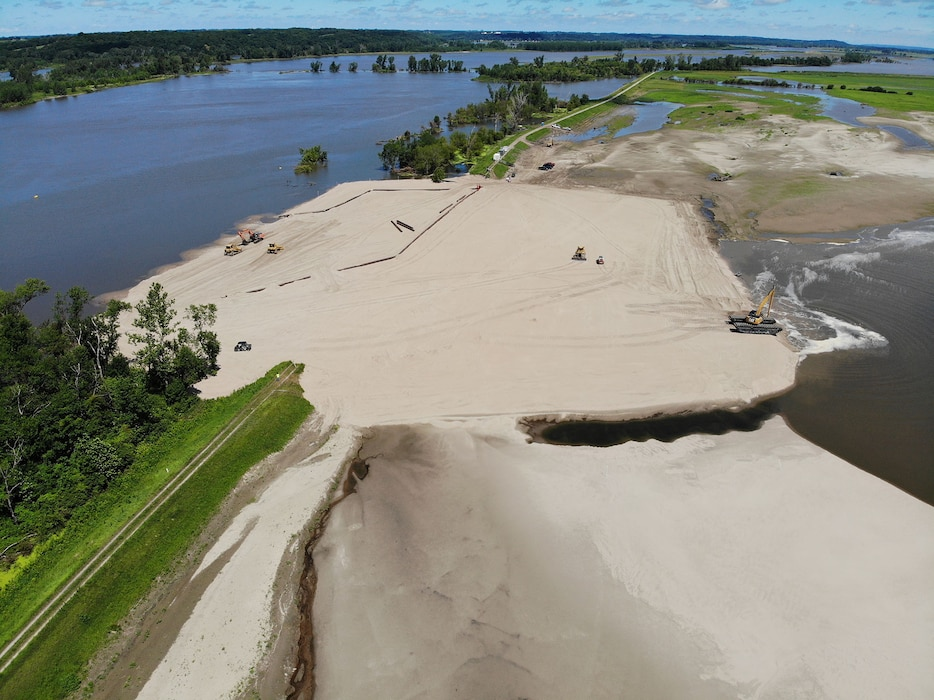 Aerial view of repair working being done at levee breach L575a_1 July 9, 2019.