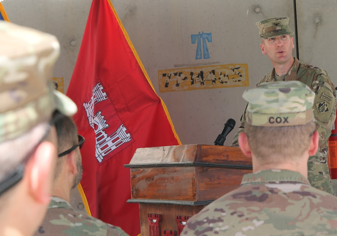 Col. Chris Becking assumes command of the Transatlantic Afghanistan District during the informal Change of Command Ceremony held July 15 at the District headquarters.