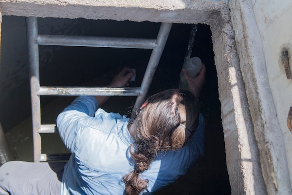 U.S. Army Spc. Marina Houff, Joint Task Force – Bravo Medical Element preventive medicine technician, takes water sample from a reservoir tank during a Leishmaniasis investigation, July 10, 2019, at La Libertad, Honduras. Members of JTF-B were asked by the Honduran Ministry of Health to conduct an investigation into the cause of Leishmaniasis and provide any recommendations that may stop infection. Leishmaniasis is a parasitic disease that is caused by infection with leishmania parasites, which are spread through the bite of sand flies.
