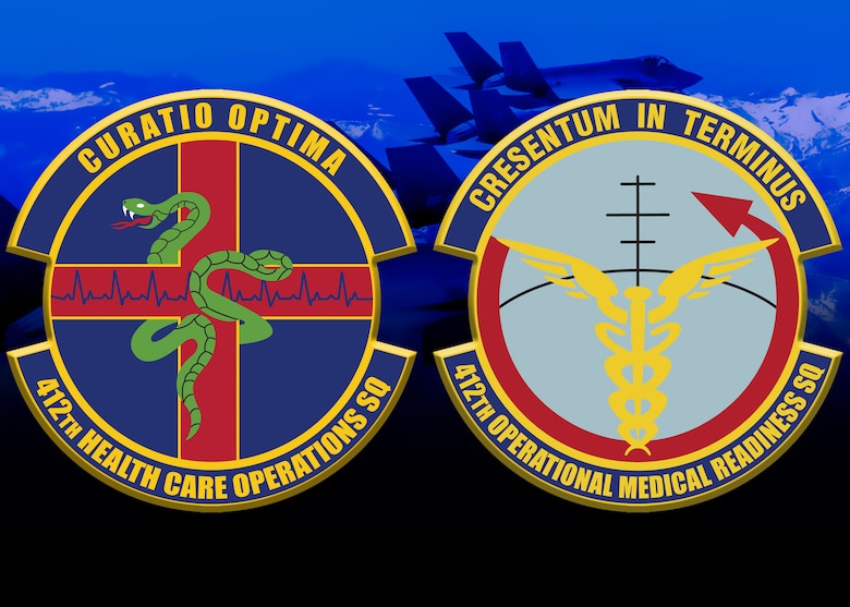 The two newest squadrons at Edwards Air Force Base: the 412th Health Care Operations Squadron and the 412th Operational Medical Readiness Squadron. (U.S. Air Force graphic by 412th Test Wing Public Affairs)