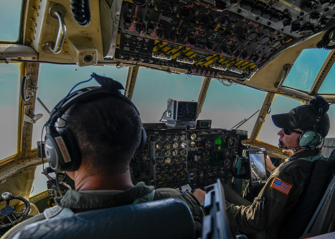 Capt. Nick Bargiband and 1st Lt. Timothy DiMarino, both pilots with the 757th Airlift Squadron here, fly a YARS C-130H Hercules en route to Wright-Patterson Air Force Base on July 10, 2019.