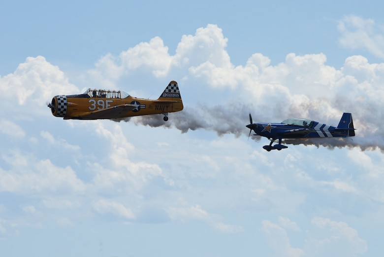 "The Shetterly Squadron aerial group perform stunts July 13, 2019, at the ""Mission Over Malmstrom"" open house event on Malmstrom Air Force Base, Mont."