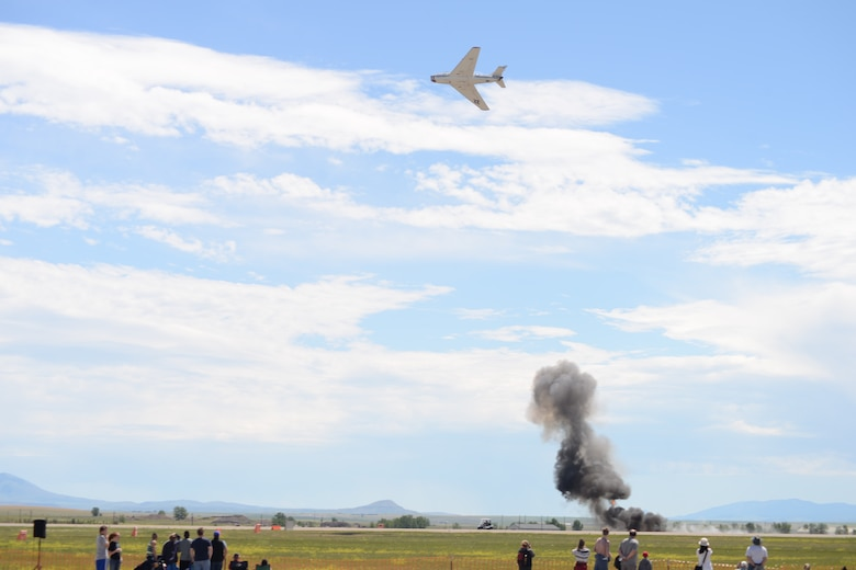 "The MiG Fury Fighters perform a mock-up dogfight show July 14, 2019, the ""Mission Over Malmstrom"" open house event on Malmstrom Air Force Base, Mont."
