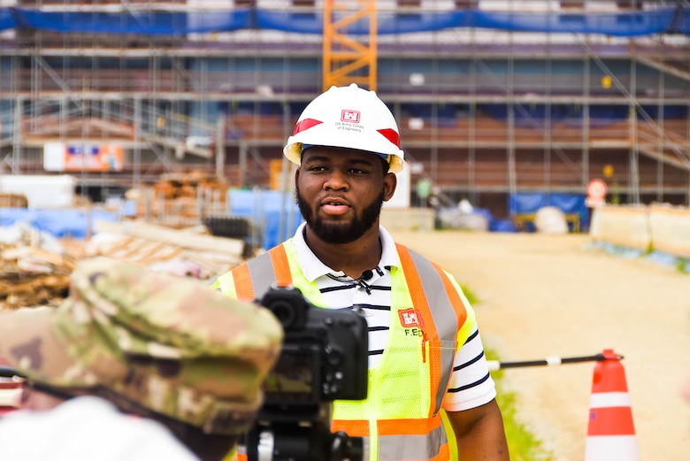Samuel Coleman, a Tennessee State University senior civil engineering major, is interviewed at a construction site, Camp Humphreys, South Korea, July 15. Coleman is currently working as an intern at the U.S. Army Corps of Engineers, Far East District, as a part of the Advancing Minorities Interest in Engineering program.